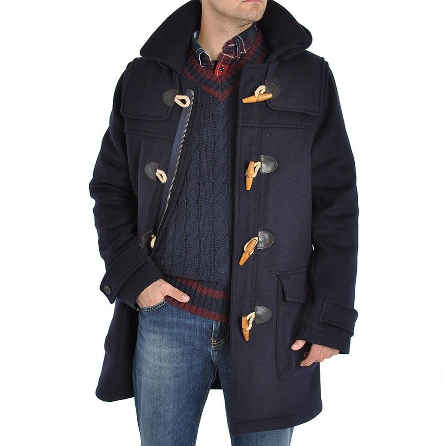 Image result for mens green duffle coat navy