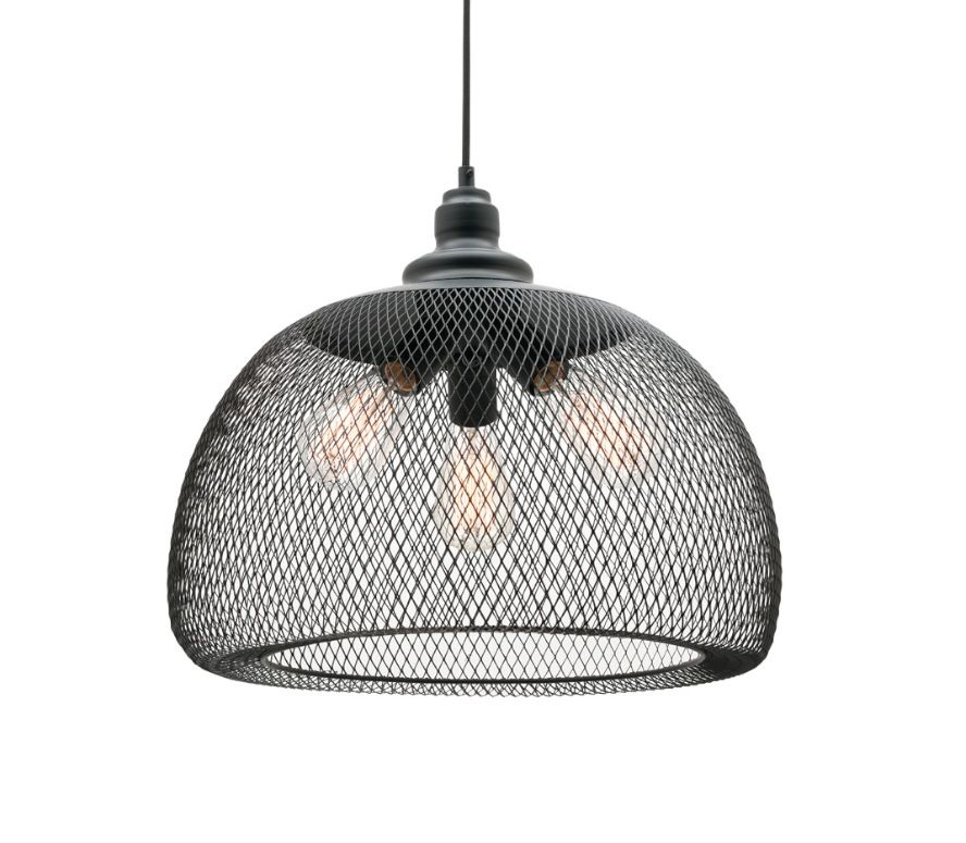 Dustin Large 3 Light Ceiling Pendant Black Wire Mesh Mercator ...