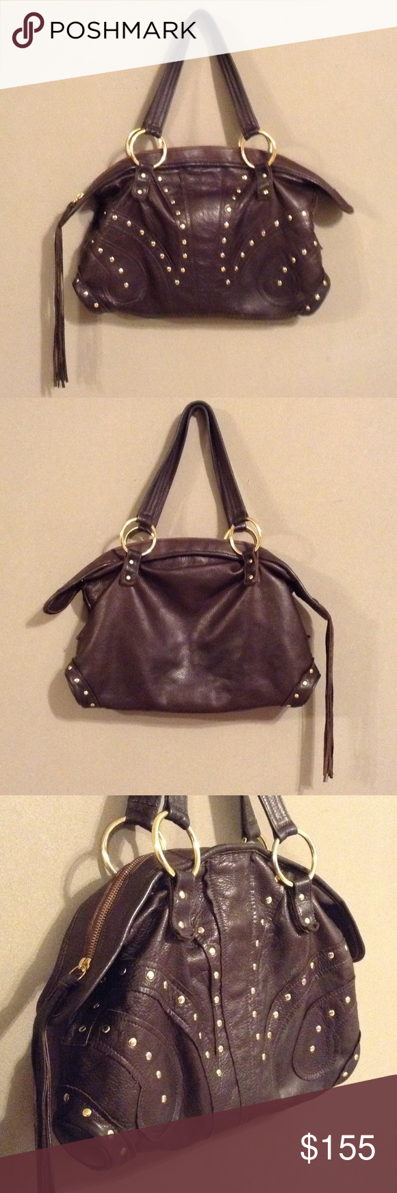 7a5223602d39 Large Chocolate BULGA Leather Bag Absolutely BEAUTIFUL bag! Fantastically  buttery leather with gold studs and