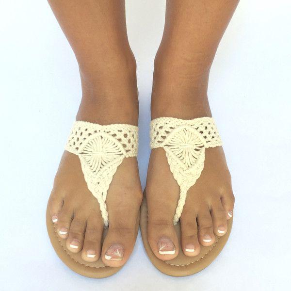 Beach Front Crochet Sandals In Cream
