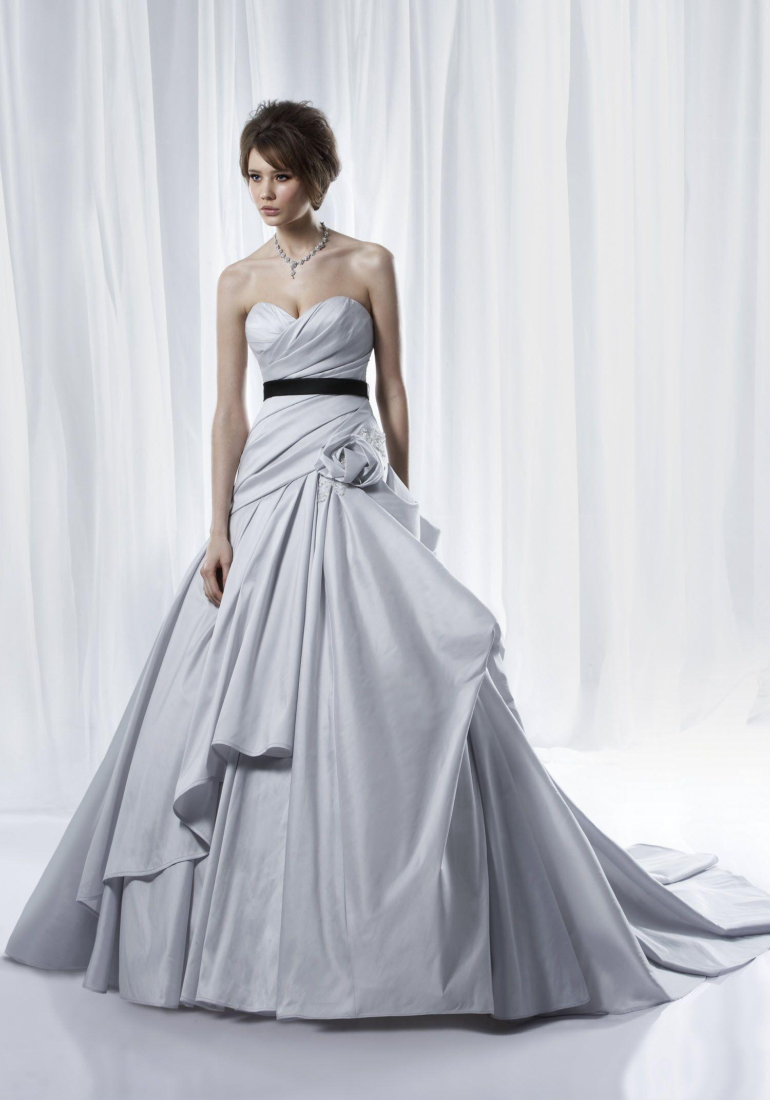 Non white dove grey ballgown wedding dress with modern bustle and non white dove grey ballgown wedding dress with modern bustle and black bridal sash ombrellifo Gallery