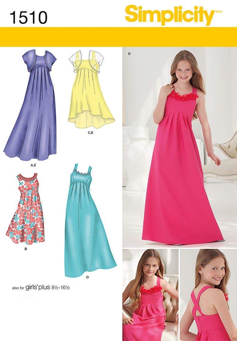 S1510 girls girls plus special occasion dress flower girl simplicity 1510 girls girls plus special occasion dress sewing pattern ombrellifo Gallery