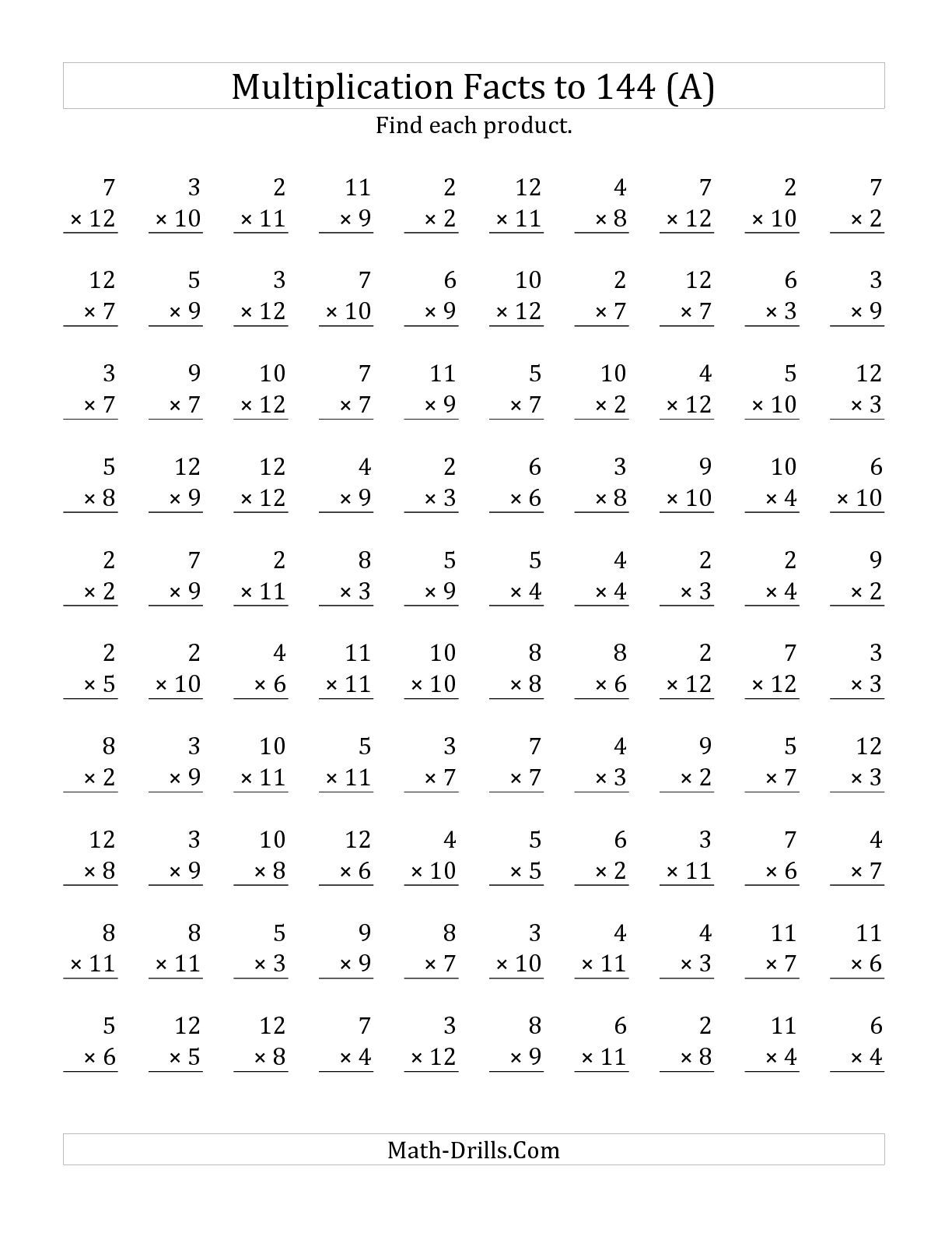 Preview Image Of The Multiplication Facts To 144 No Zeros
