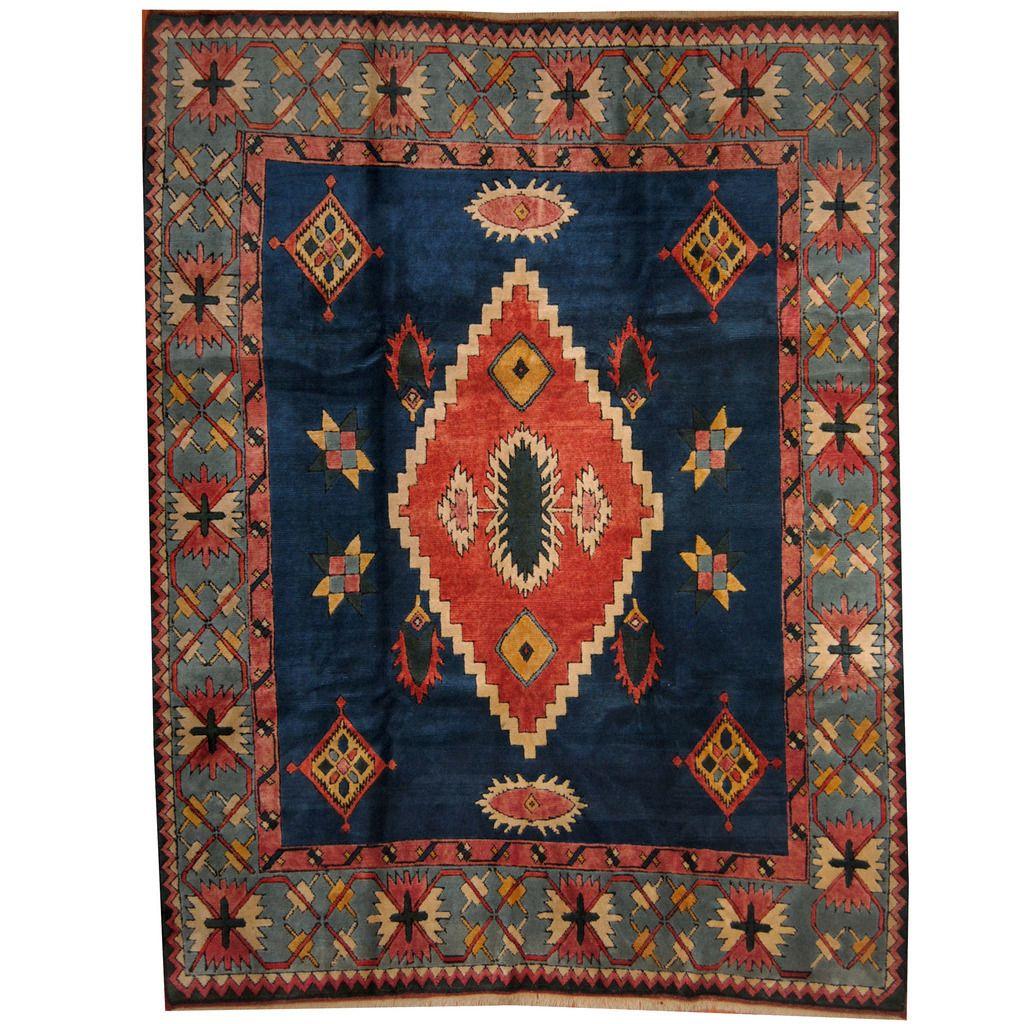 Handmade Herat Oriental Turkish Kazak Navy Blue Wool Rug