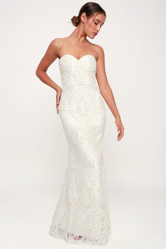 9c332804d9 Get swept up in a magical moment in the Bariano Take Me Away White Lace and  Pearl Strapless Maxi Dress! Elegant sheer lace and pearls over a woven  lining