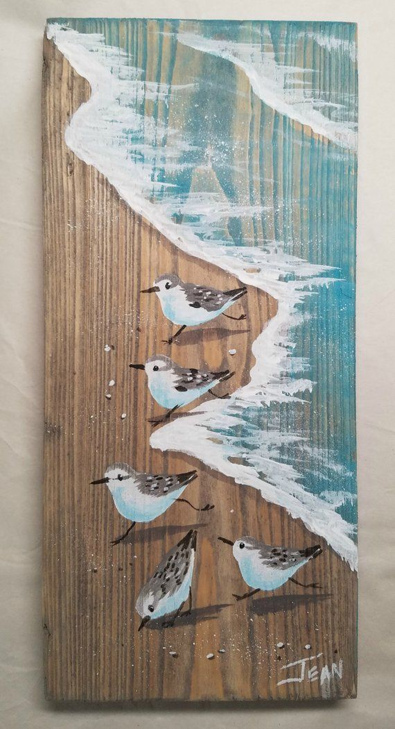 Sanderling art – beach painting – beach house – distressed wood – plaque – sandpipers – coastal décor – vertical wall art – whitewash finish