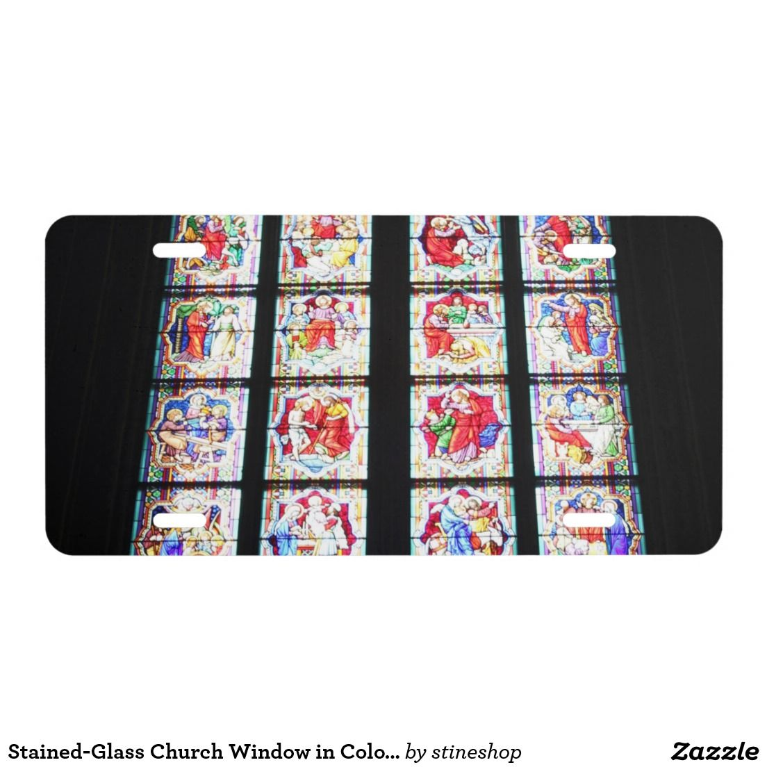 Stained-Glass Church Window in Cologne Cathedral License Plate