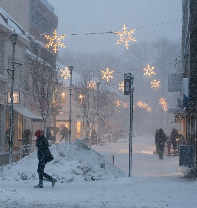 Lighting Stores In Paris: Snow + Christmas Lights, Trondheim, Norway