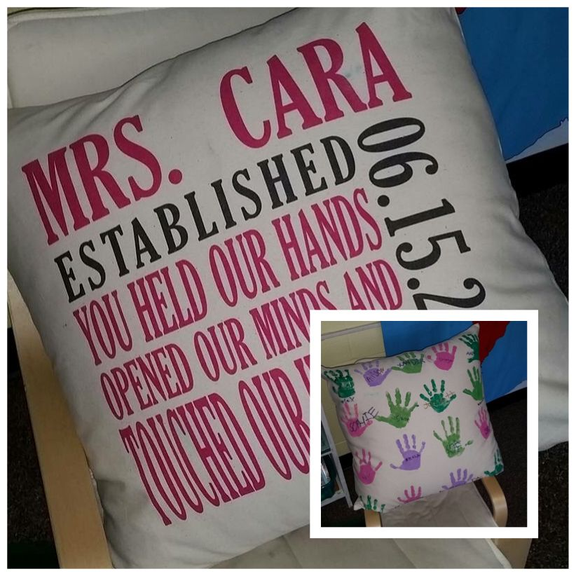 Personalize a pillow as a teacher gift from the class Thirty-One