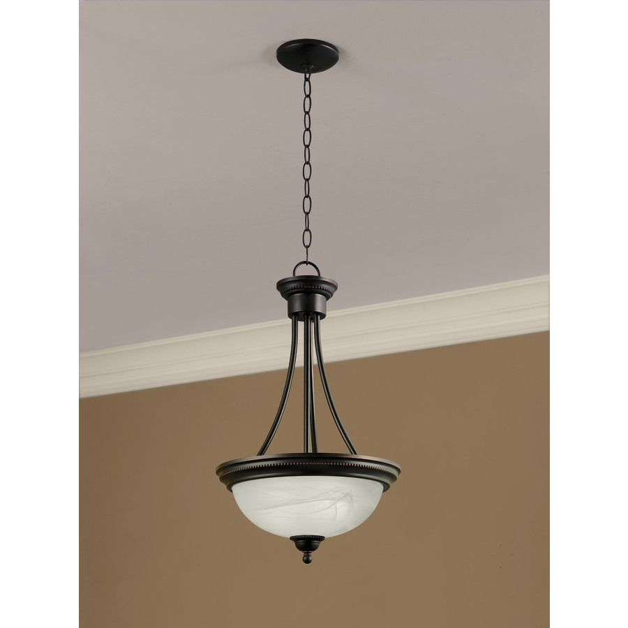 Pendant Lights At Lowes Pleasing Shop Portfolio Kingsmere 1425In W Oil Rubbed Bronze Pendant Light