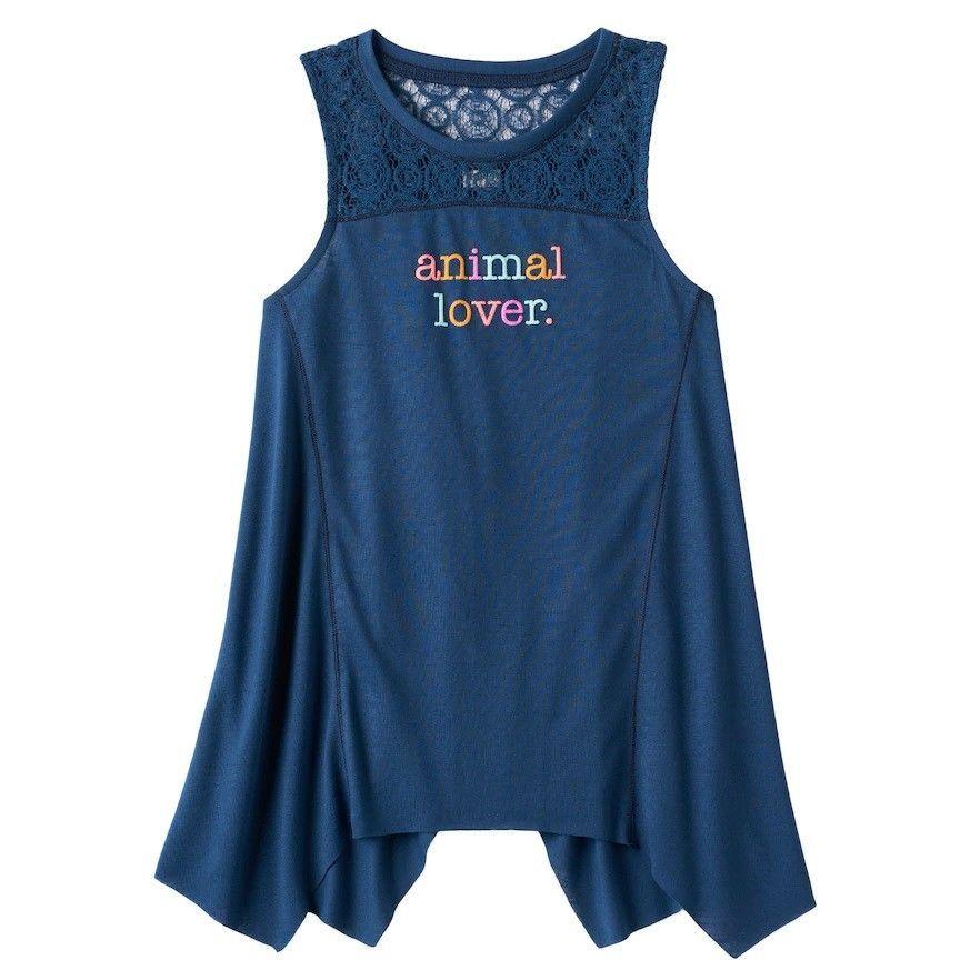 01c9864a166 Mudd Girls Crochet Lace Yoke Sharkbite Tank Top Animal Lover size 7-8 NEW  ...