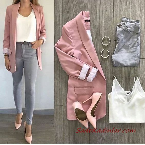 Gray Pants Combinations Gray Skinny Pants White Blouse Pink Long Coat Pink Tops – Everything is there