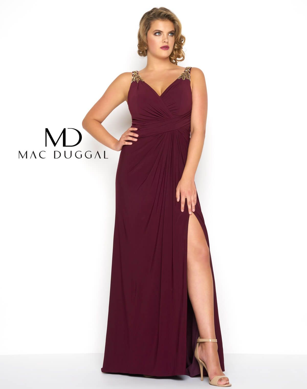 Grecian inspired sleeveless jersey plus size prom dress with ...