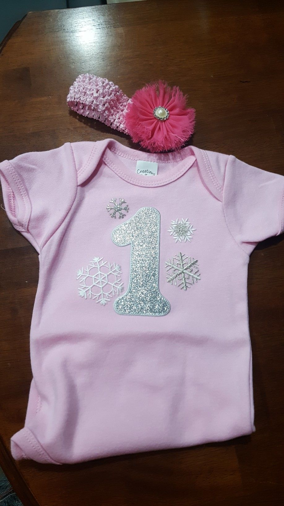 Pink and silver shimmer winter ONEderland birthday outfit