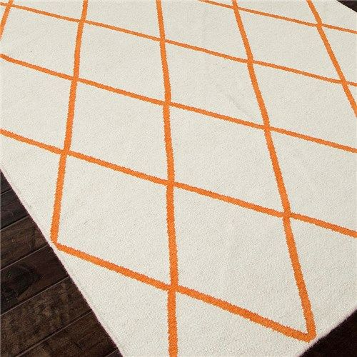 Jaipur Maroc Amina White Orange Flat Weave Rug Area Rugs