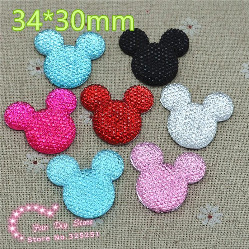 mix color mickey 34*30mm 30pcs resin flat back cabochon for hair bow center scrapbooking