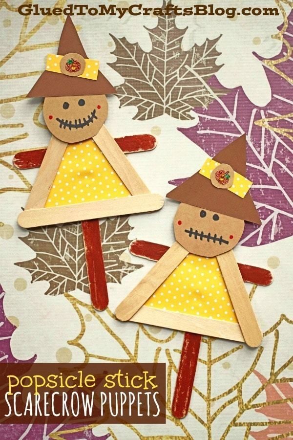 Popsicle Stick Scarecrow Puppets  Kid Craft - Scarecrow crafts, Fall arts and crafts, Winter crafts for kids, Fall crafts for toddlers, Fall crafts, Crafts - Rake up those fall memories with today's Popsicle Stick Scarecrow Puppets kid craft idea  It's super easy to make and each one can be customized