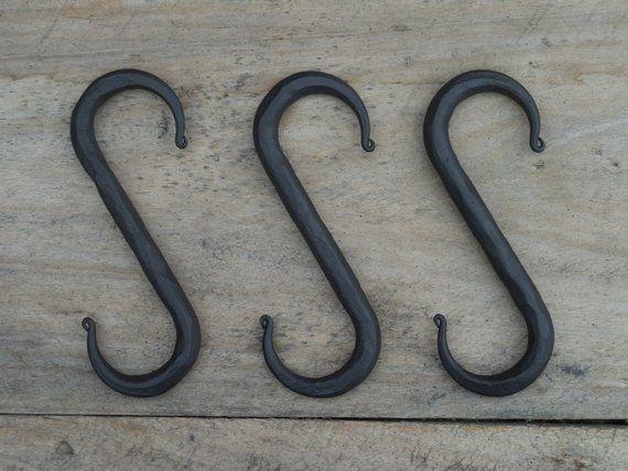 Set Of 3 Hand Forged S Hooks 4 Blacksmith Made Wrought Iron