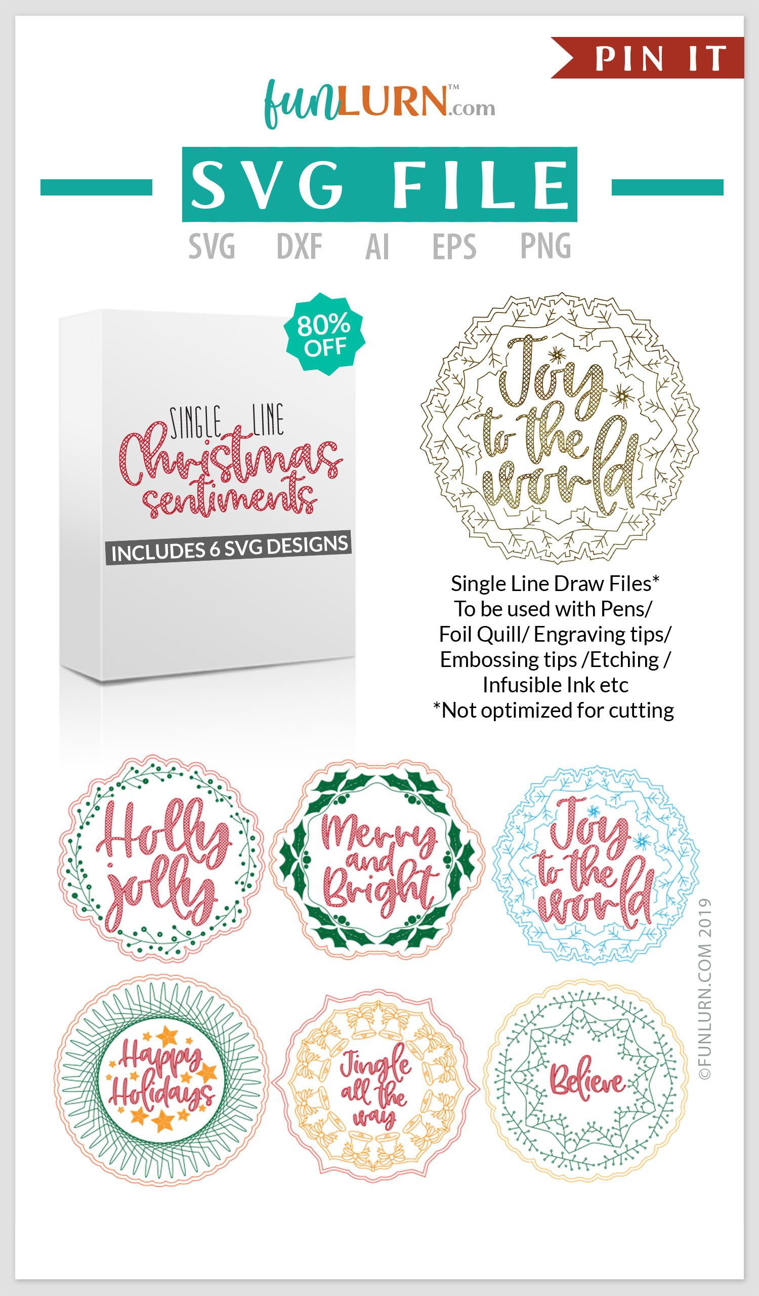 Single Line Christmas Sentiments For use with Foil Quill