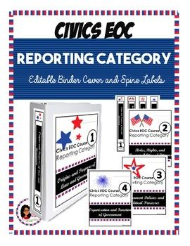 FREEBIE Civics EOC Reporting Category EDITABLE Binder ...