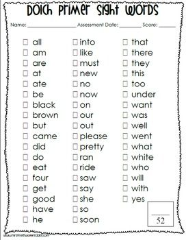 Dolch Sight Word Lists and Sentence Assessment Sheets | Classroom ...