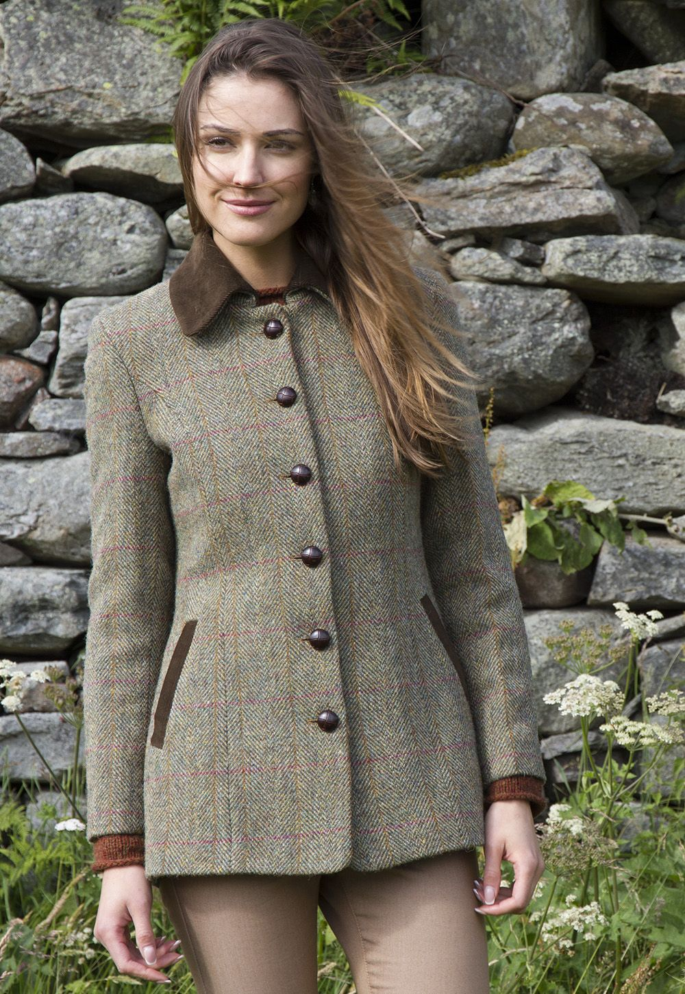 Harris Tweed Lottie jacket in soft green tweed with corduroy trim ...
