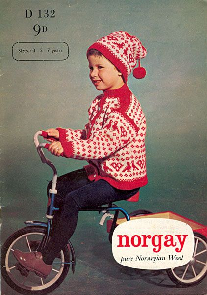 Norgay D132 Childrens Christmas Hat And Cardigan Knitting Pattern