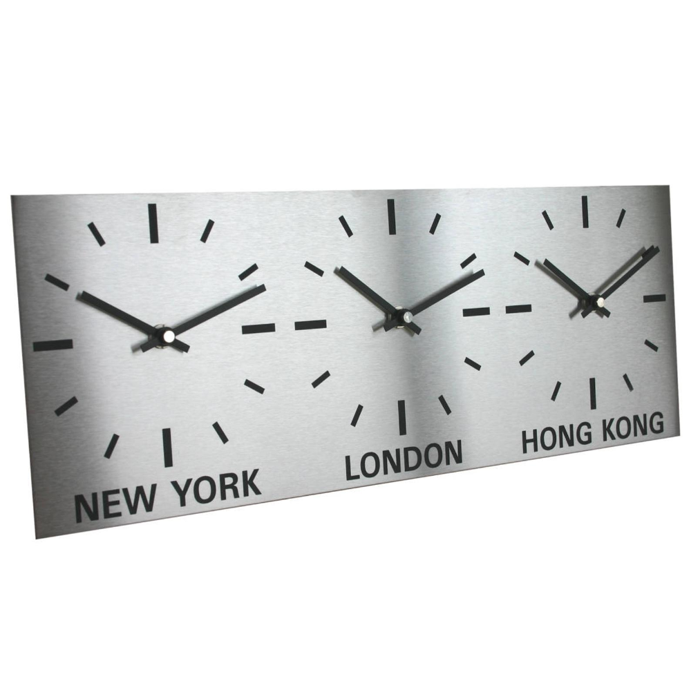 Roco Verre Brushed Stainless Steel Time Zone World Wall Clocks Clock Brushed Stainless Steel Wall Clock