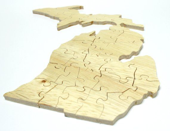 Michigan Jigsaw Puzzle Made From Wood
