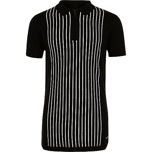 Boys black stripe knit zip polo shirt - polo shirts - boys