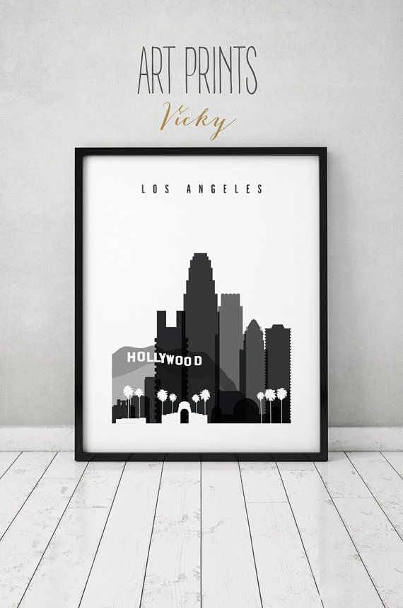 Los angeles print black and white travel poster by artprintsvicky
