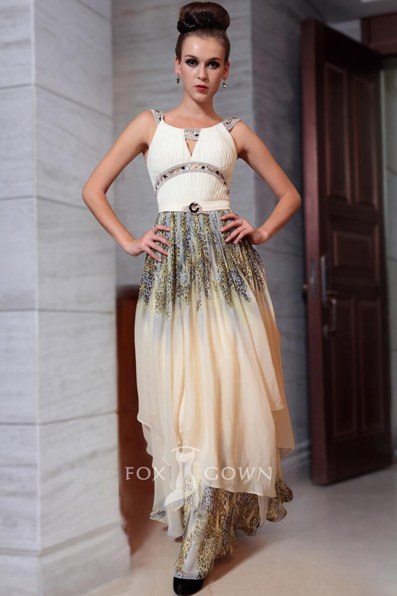 Retro Sleeveless Beaded Strap Scoop Neck A Line Long Printed Formal