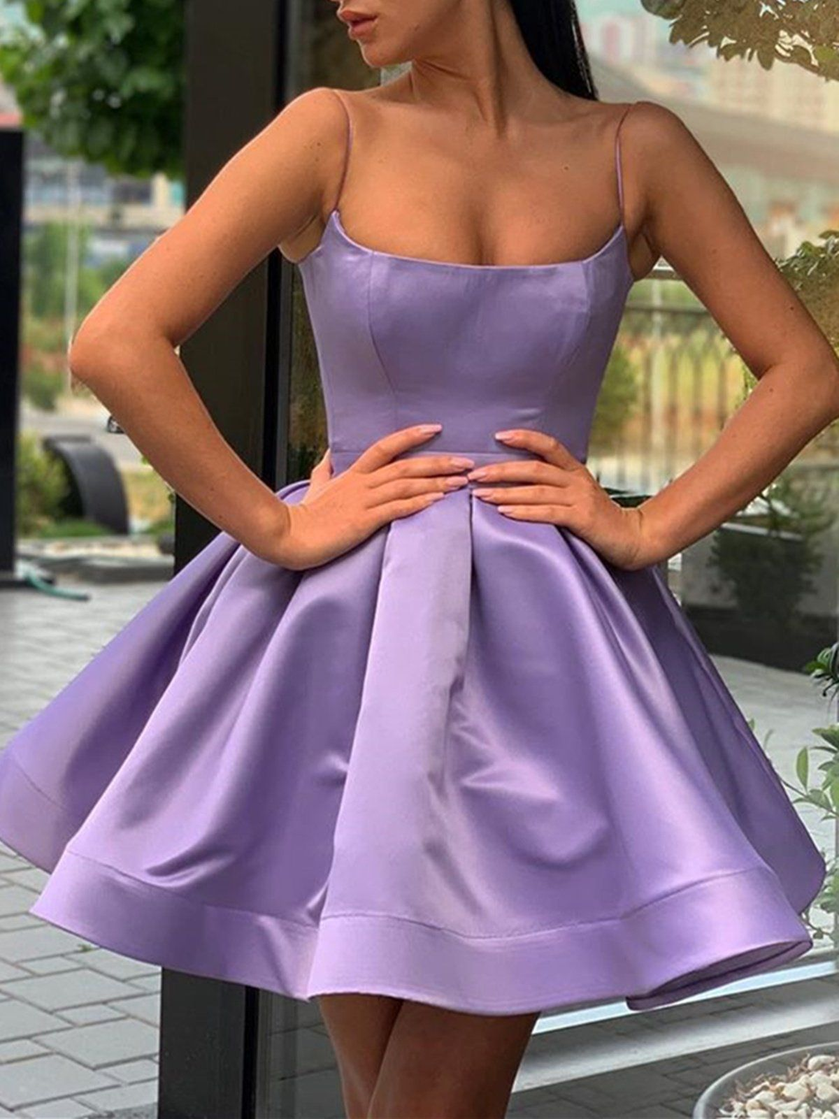 A Line Spaghetti Straps Short Purple Prom Dresses Short Purple Formal Homecoming Dresses In 2021 Purple Short Dress Purple Prom Dress Short Purple Prom Dress [ 1601 x 1200 Pixel ]