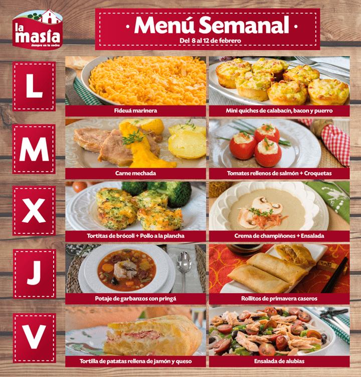 Menus De Cocina | Menu Semanal Del 8 Al 12 De Febrero Recetas Semanales