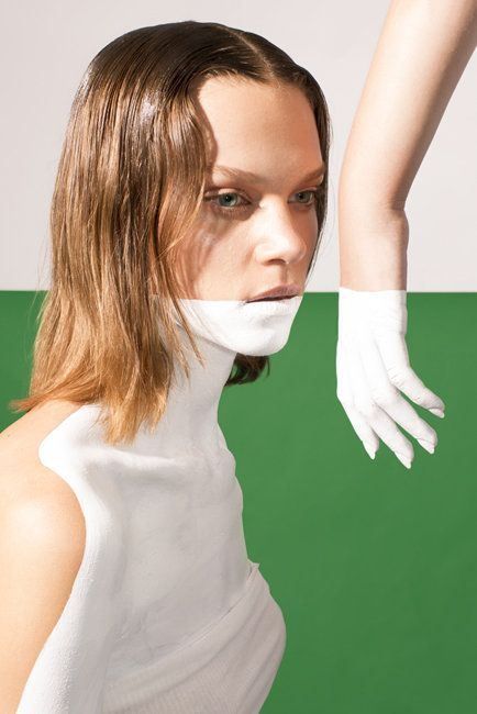 body paint woman's fashion editorial green white minimalism