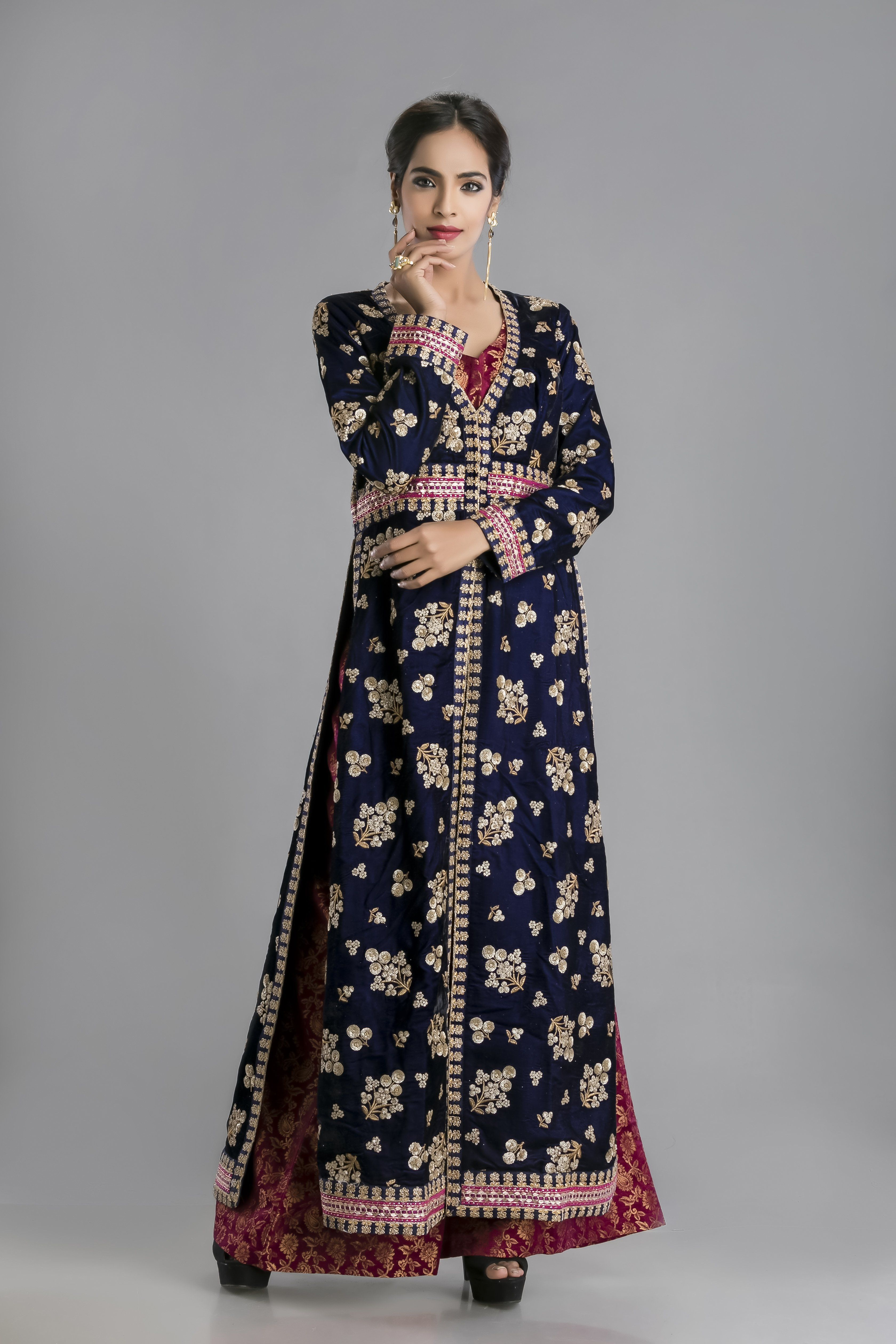 The nile blue velvet long kurta gown with brocade palazzothe