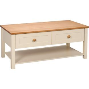 Buy haversham 2 drawer coffee table antique pine and cream at your online shop Pine coffee table with drawers