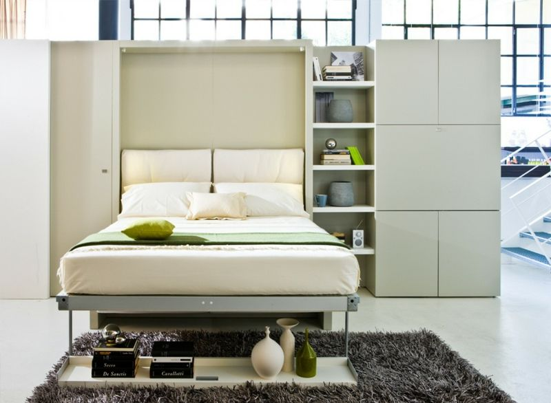 einrichtungsideen fr schlafzimmer wohwand idee klappbett weiss modern  Gartenhaus in 2019