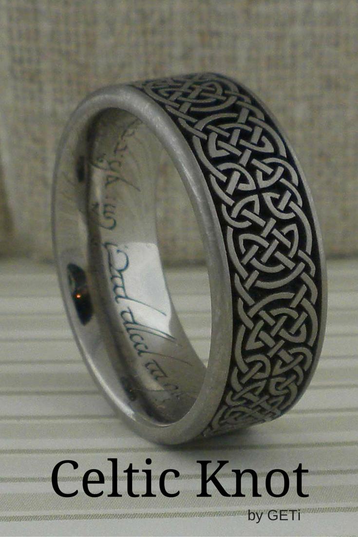 Celtic Knot Wedding Ring In Titanium Unique Celtic Wedding Rings Celtic Knot Wedding Ring Mens Wedding Rings Celtic Wedding Rings