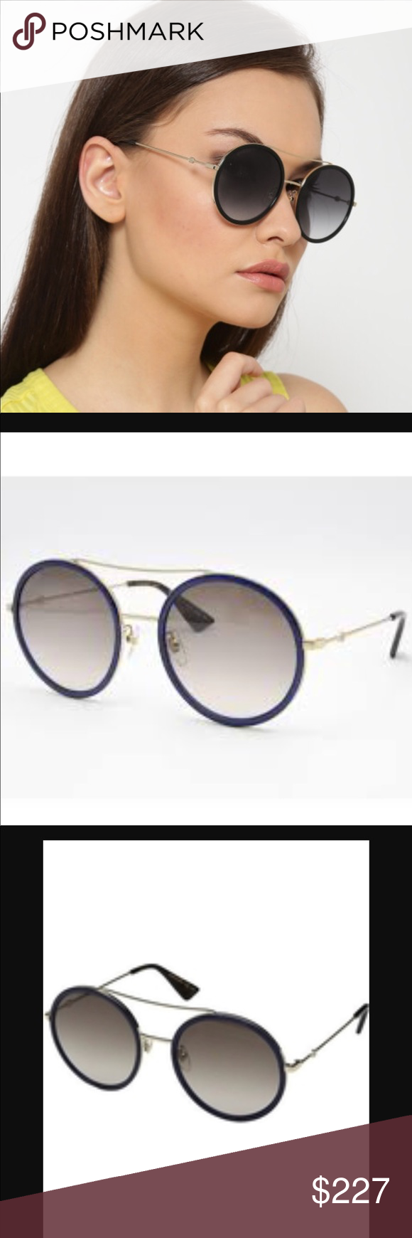 ad63fec6b0 Gucci Sunglasses Model  0061s Gucci 0061s Blu gld Brand New!🎈 Case and  Cleaning Cloth Included! Gucci Accessories Sunglasses