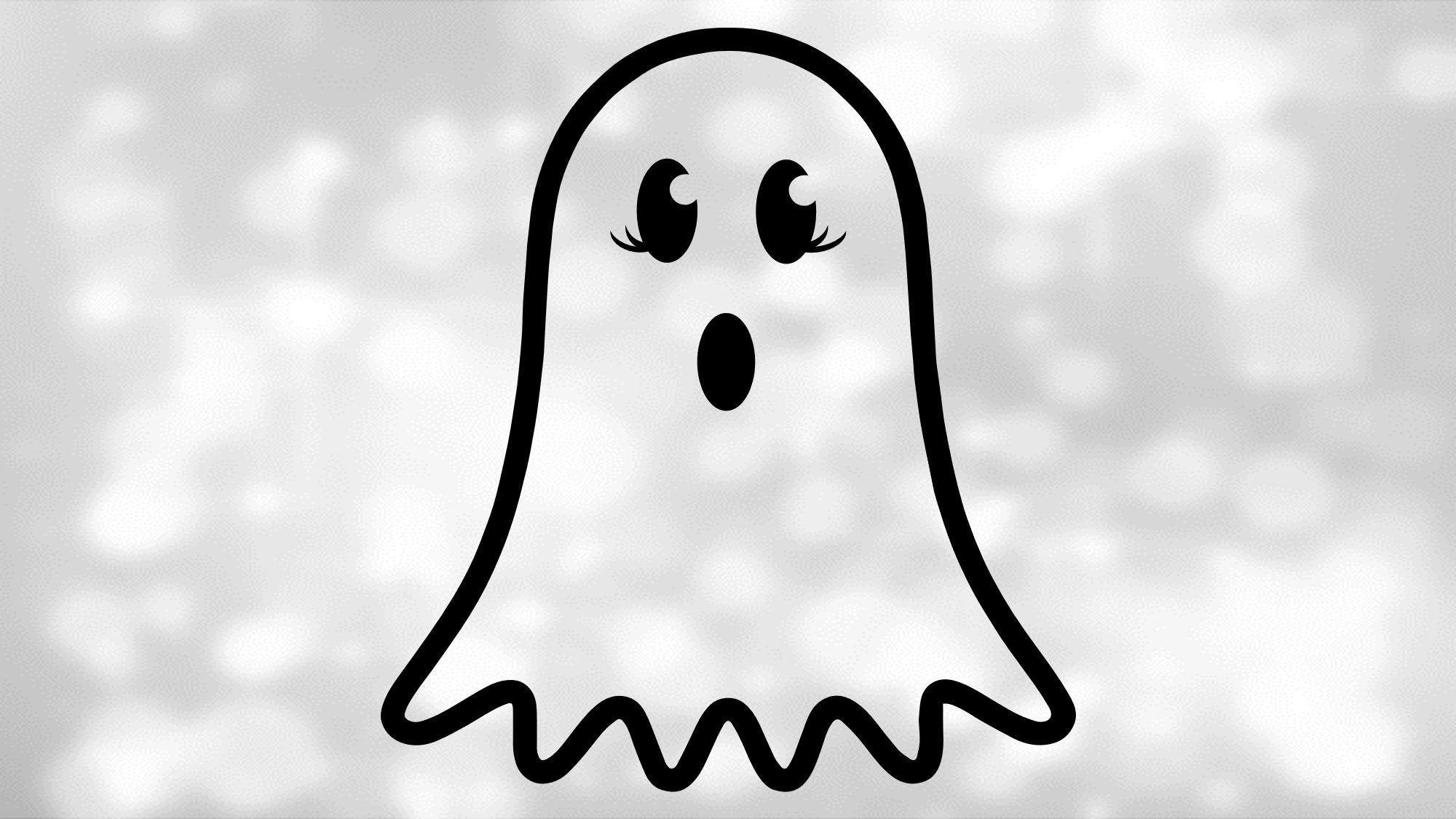 Halloween Clip Art Simple Black White Cute Ghost W Big Etsy Halloween Clips Halloween Clipart Cute Ghost