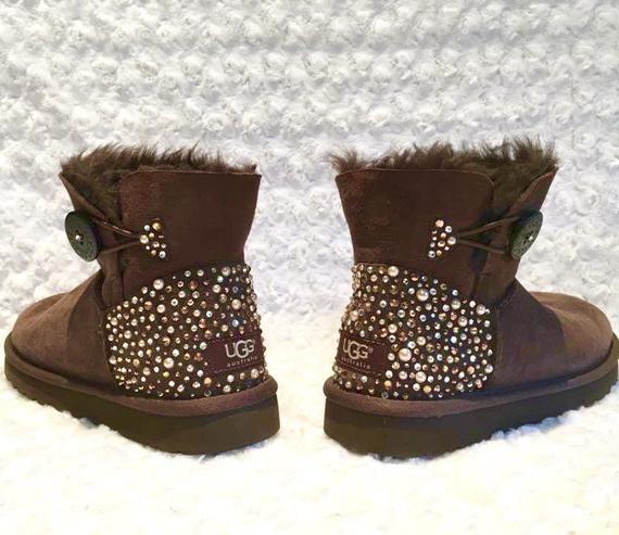081d57f6740 Bling Ugg Bailey Button Mini, Women's Custom Chocolate Ugg Boots ...