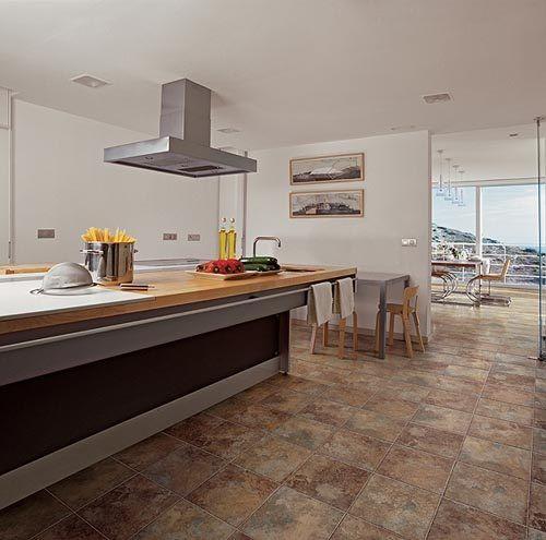 cocina ceramica blanca y ceramica piso rustico - Buscar con Google ...