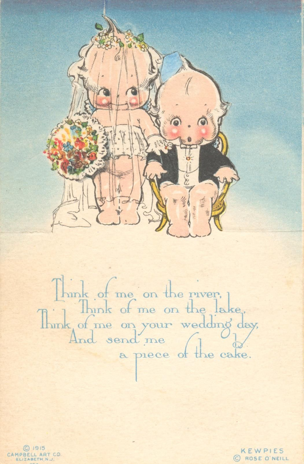 Vintage Wedding Postcard Featuring Rose O Neill S Ilration Characters