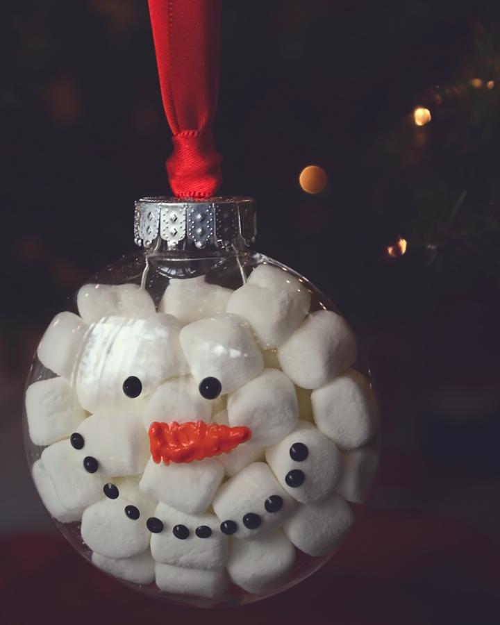 DIY Sweet Marshmallows Snowman Ornament Christmas