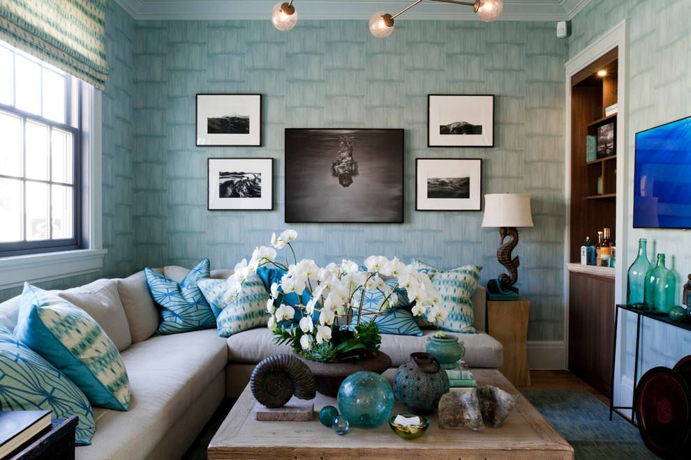 Blue Color Decoration Ideas For Living Room. Light Blue Wallpaper In The  Grayish Decorated Space