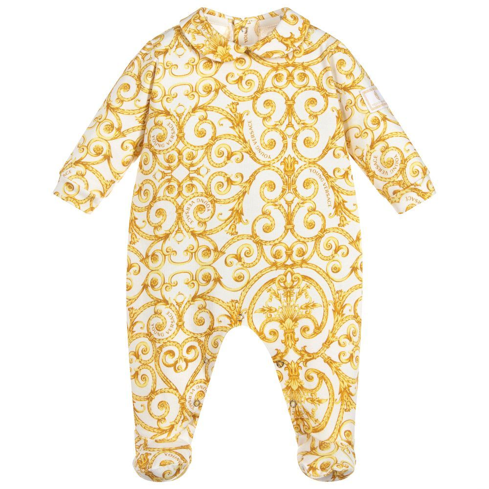 a46152f530b4 Young Versace - Gold Baroque Babygrow
