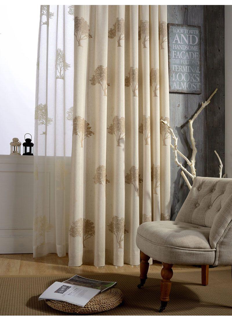 Rideaux Design Pour Chambre rideau tamisant en coton lin brodé arbre beige pour chambre