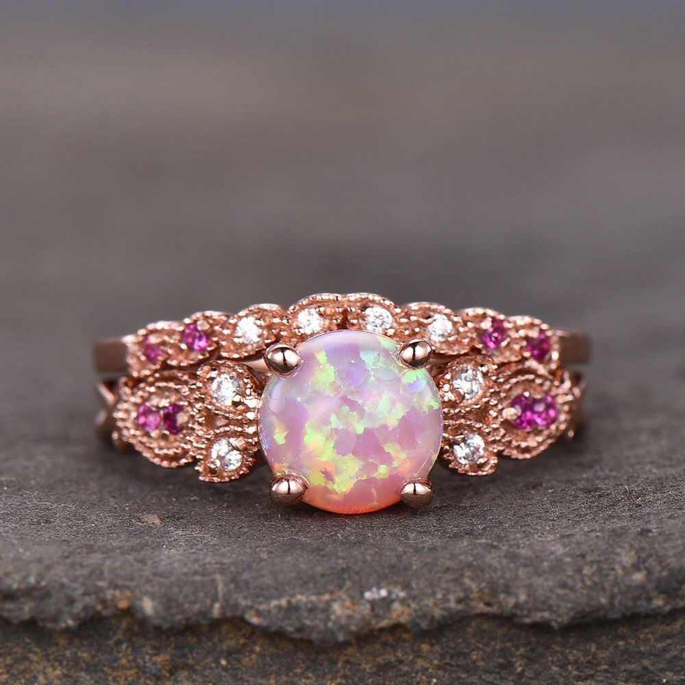 Vintage Ring Set Pink Fire Opal Engagement Ring Natural