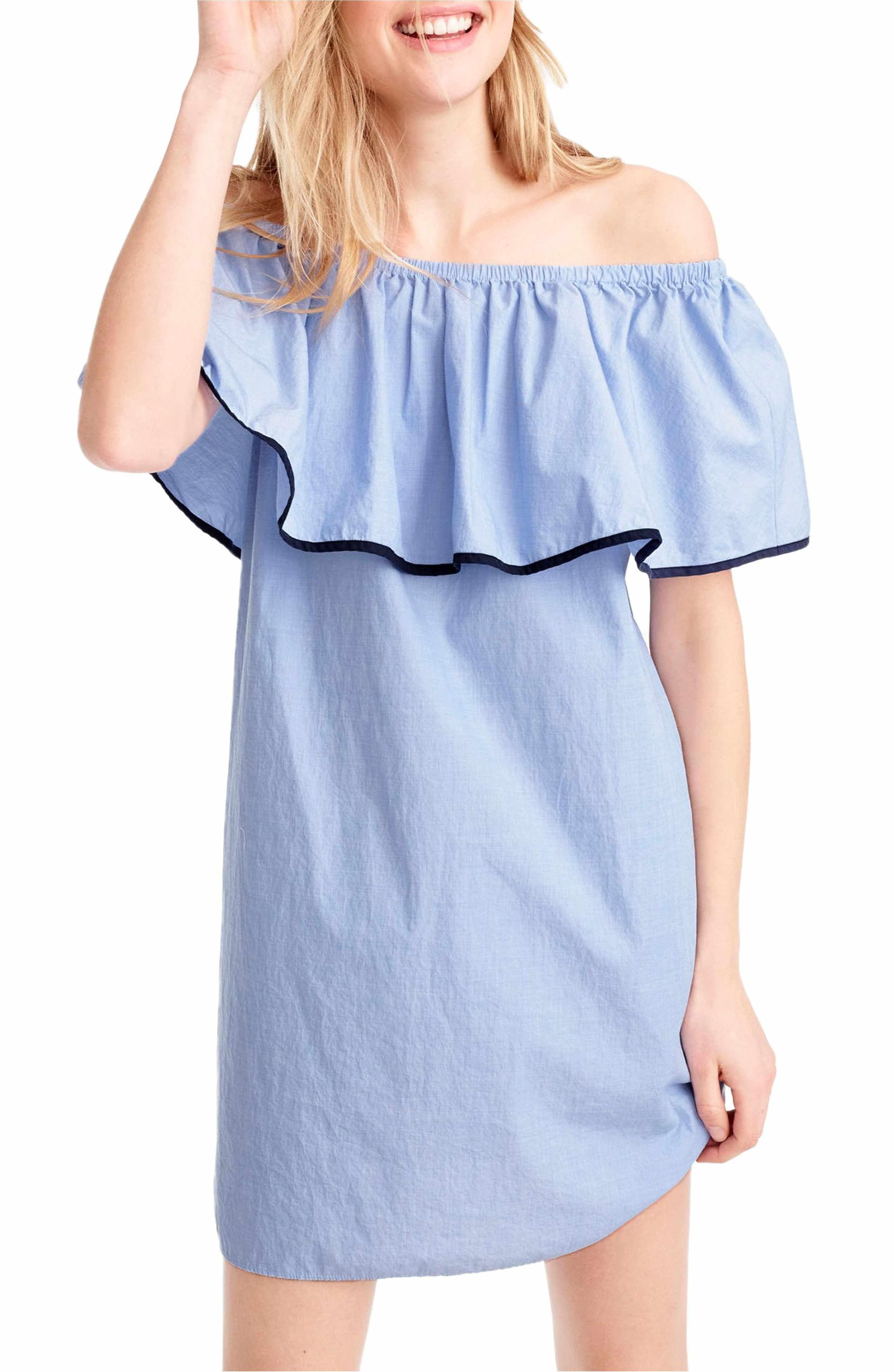 Jcrew tipped off the shoulder shift dress hydrangea blue from